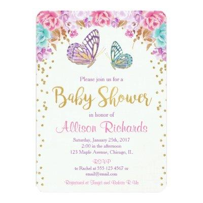 Butterfly baby shower, pink purple gold girl Invitations