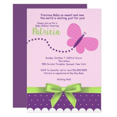 Butterfly Bows Purple Pink Polka Dots Baby Shower Invitations
