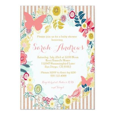 Butterfly Floral Pink Baby Shower Girl Invitations