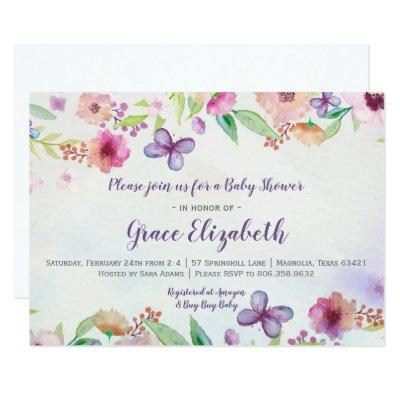 Butterfly Floral Watercolor Baby Shower Invitations