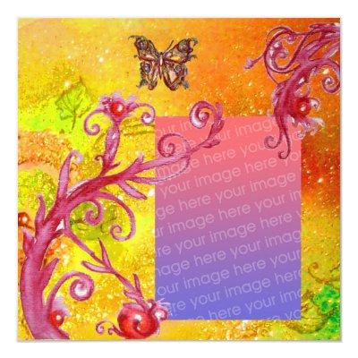 BUTTERFLY IN SPARKLE 2 photo template yellow red