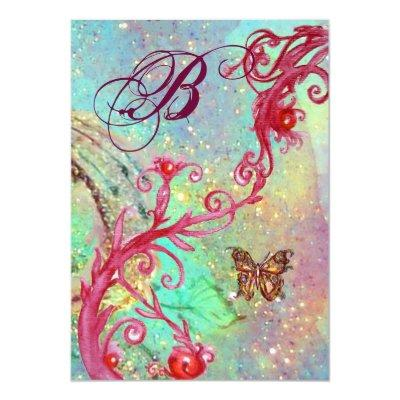 BUTTERFLY IN SPARKLES 2 Blue Wedding Monogram , Invitations