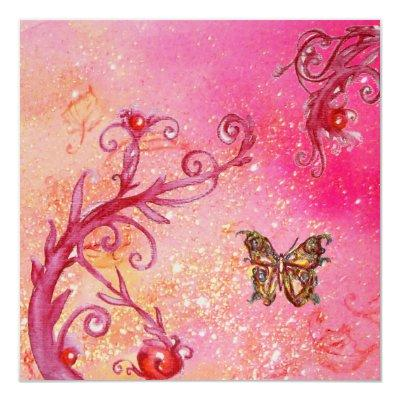 BUTTERFLY IN SPARKLES Elegant Wedding Party Gold Invitations