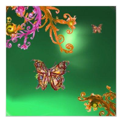 BUTTERFLY JADE GREEN, bright pink yellow brown Invitations
