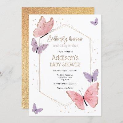Butterfly Kisses and Baby Wishes Baby Shower Invitation