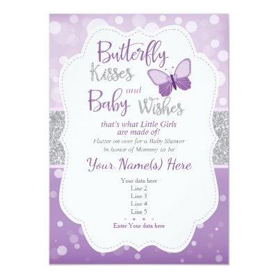 Butterfly Kisses Baby Shower Invitations