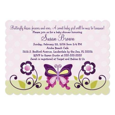Butterfly Lane & Flowers Baby Shower Invitations