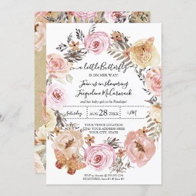 Butterfly Watercolor Wreath Pink Floral Baby Girl Invitation
