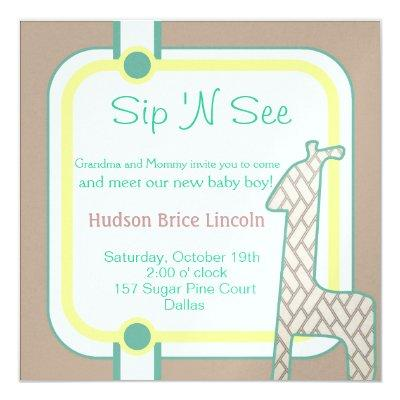 Buttoned Up Baby Giraffe Invitation