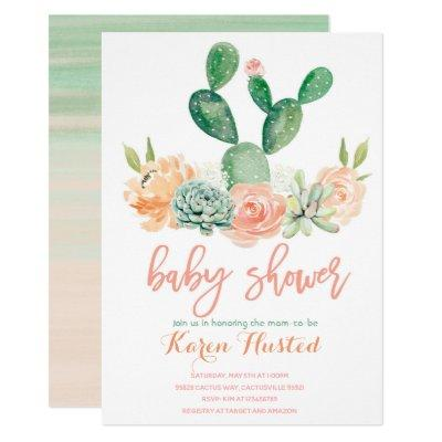 Cactus baby shower Invitations succulent