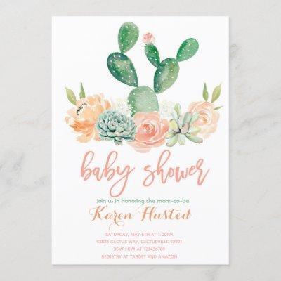 Cactus baby shower invitation succulent