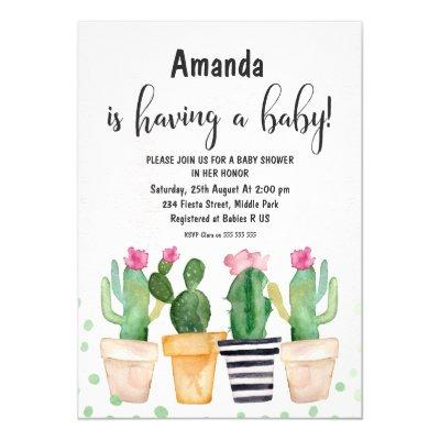 Cactus Fiesta Watercolor Baby Shower Invitations