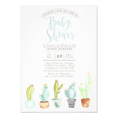 Cactus Garden | Watercolor Baby Shower Invite