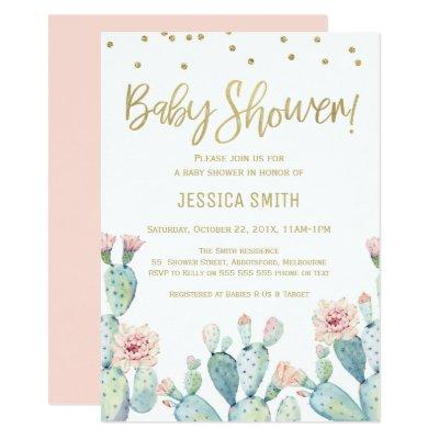 Cactus Gold Calligraphy Baby Shower Invitations
