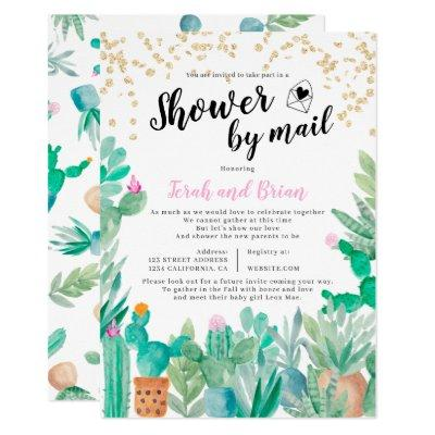 Cactus gold glitter watercolor baby shower by mail invitation