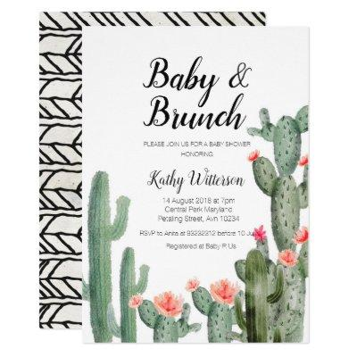 Cactus greenery baby brunch baby shower invitation