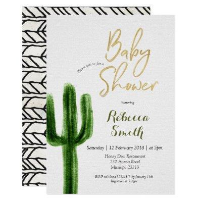 Cactus Greenery Baby Shower Invitation