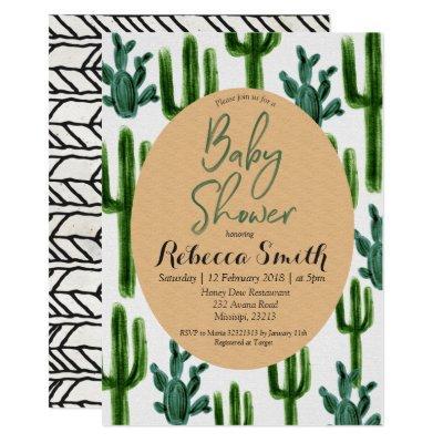 Cactus Greenery Baby Shower Invitation Modern