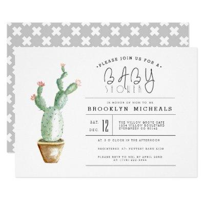 Cactus Planter | Watercolor Baby Shower Invitations
