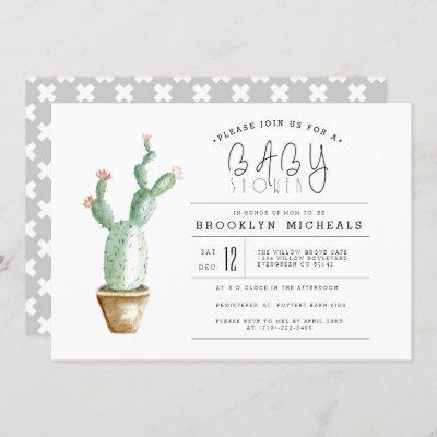 Cactus Planter | Watercolor Baby Shower Invitation