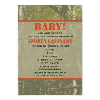Camouflage & Orange Baby Shower Invitations
