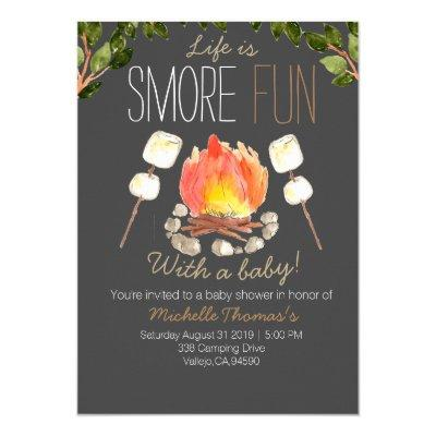 Camping smores baby shower invitation