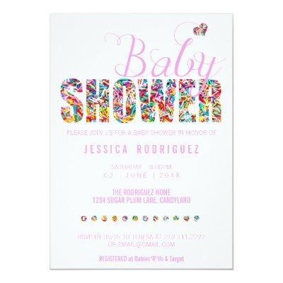 Candy Theme Baby Shower Party It's a Girl Invitation