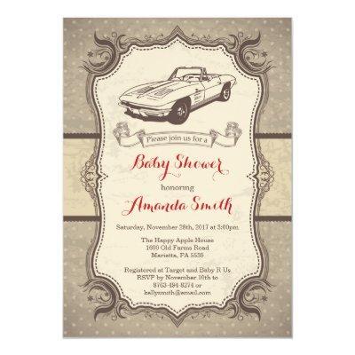 Car Baby Shower Invitations Vintage Retro