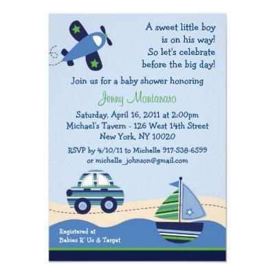 Car Boat Airplane Boys Invitations