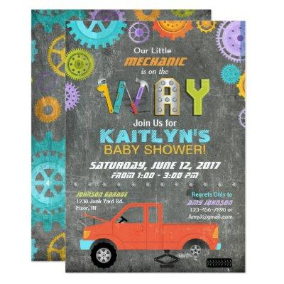 Car Mechanic Gears Tools Chalkboard Baby Shower Invitations