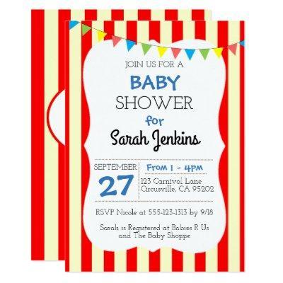 Carnival Circus Stripe Baby Shower Invitation