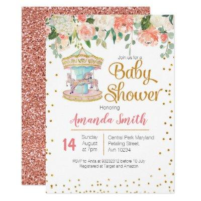 Carousel Baby Shower invitation Girl