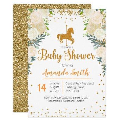 Carousel Gold White Baby Shower invitation