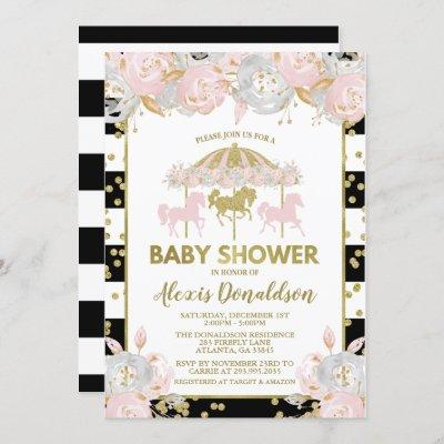 Carousel Pink and Gold Baby Shower Invitation