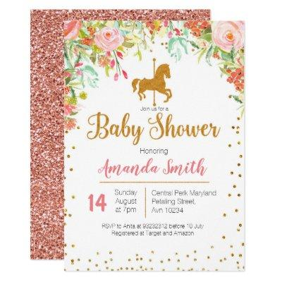 Carousel Rose Gold Baby Shower Invitations