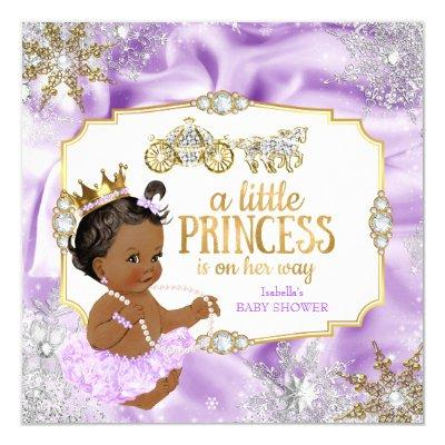 Carriage Princess Baby Shower Purple Ethnic Invitations