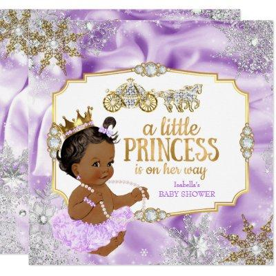 Carriage Princess Baby Shower Purple Ethnic Invitations
