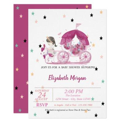 Carriage, Stars, Princess Baby Shower Invitation
