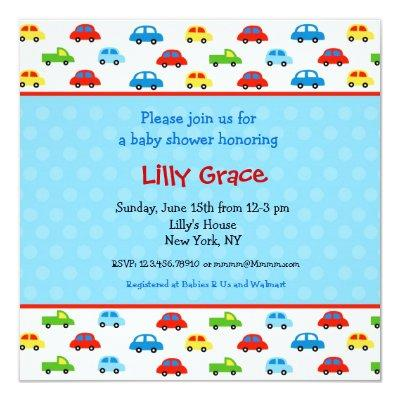 Cars Trucks Boys Baby Shower Invitations