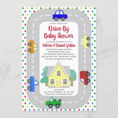 Cars Trucks Drive By Baby Shower Invitation