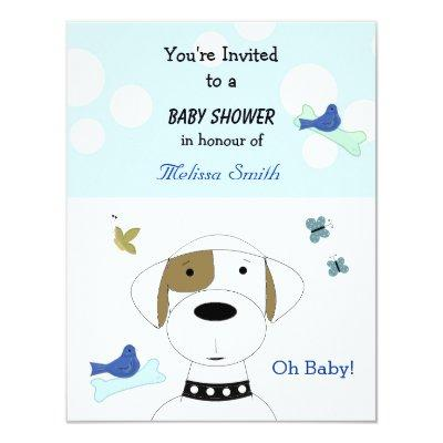 Cartoon Dog Baby Shower Invitation