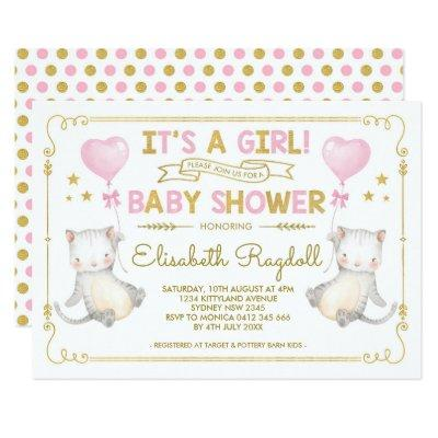 Cat Baby Girl Shower Kitten Pink Gold Cat Lover Invitation