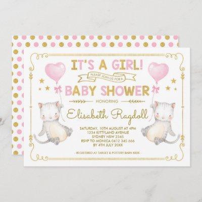 Cat Baby Girl Shower Kitten Pink Gold Cat Lover Invitation