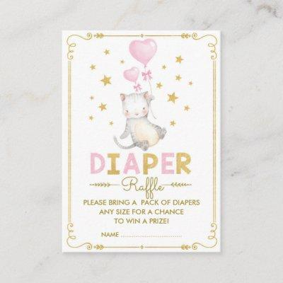 Cat Diaper Raffle Girl Kitten Pink Gold Star Baby Enclosure Card
