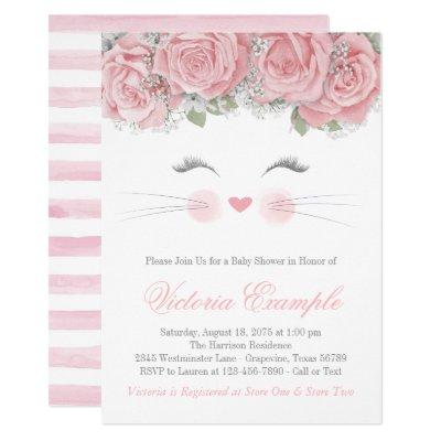 Cat Face Baby Shower Invitation
