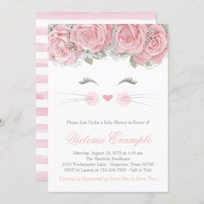 Cat Face Baby Shower Invitation