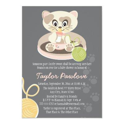 Cat in Pink Diapers Baby Shower Invitations