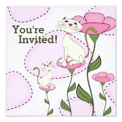 Cat Kitten and Pink Flowers Baby Shower Invitations