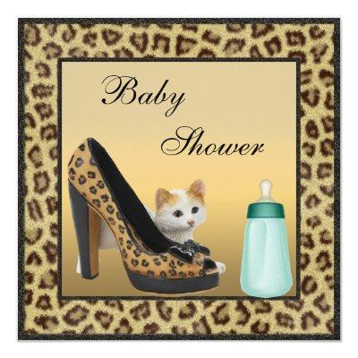 Cat, Shoe & Bottle Fur Texture Neutral Invitations