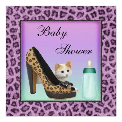 Cat, Shoe & Bottle Purple Fur Texture Baby Shower Invitation